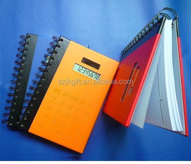 2015 new hot sale 3 in 1 touch screen key 8 digits solar notebook with calculator
