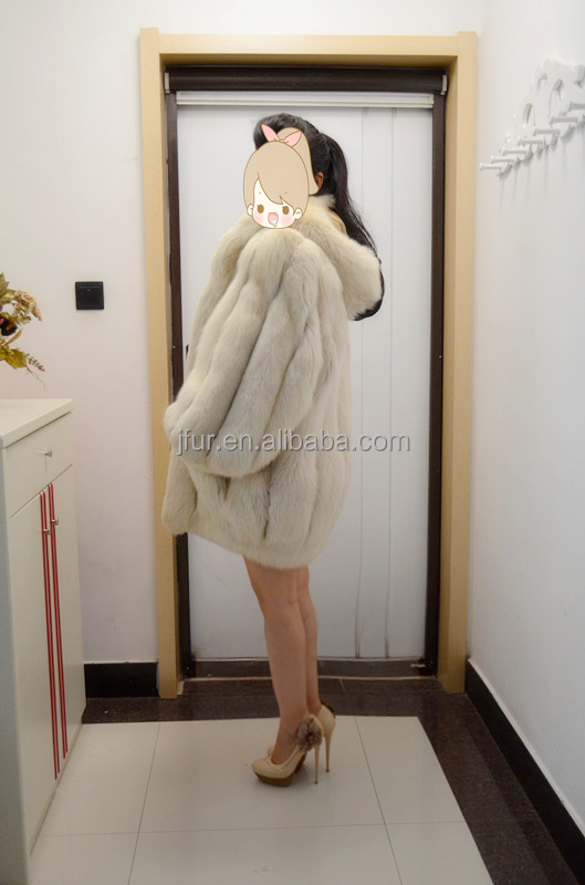 Wonderful Design 2017 Fox Long Fur Coat With Hat Real Animal Skin Outer Wear