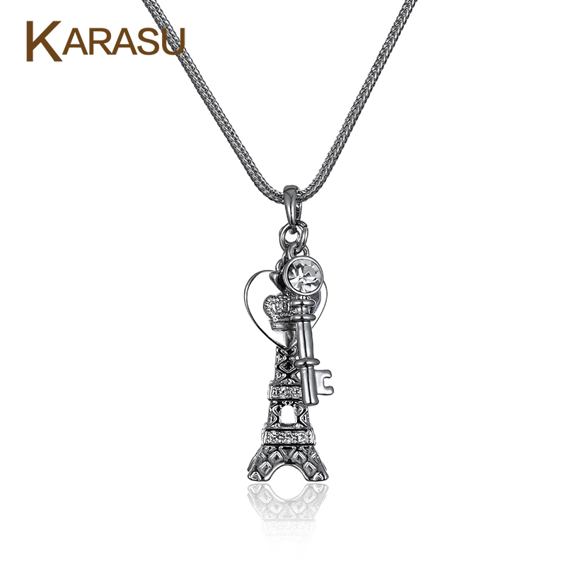 Fashion Eiffel Tower Love Heart & Key Pendant Real White Gold Plated Long Chain Pendant Necklace for Women Jewelry Gifts
