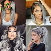 Brazilian Full Lace Wig Virgin Human Hair Silver Grey Lace Front Wig Straight Glueless Grey Hair Wigs for Fashion Women