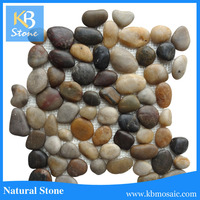 2016 KB MOSAIC High polished, mixed color flat pebble river stone, natural pebble stone