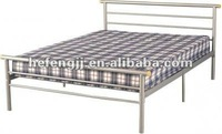 King size metal bed frame with silver finish