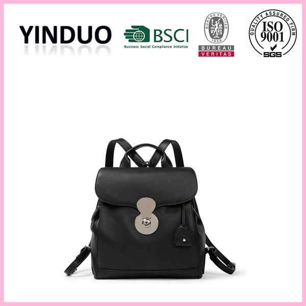 Luxury branded high quality made custom logo black leather backpack newest trend 2016 fashion genuine leather handbag women bags