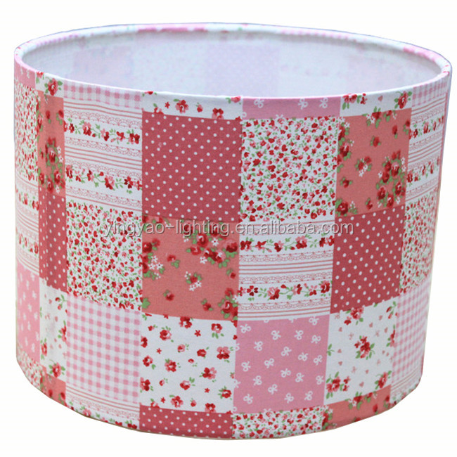 Drum Hanging Pink Fabric Lampshades White Wire Lamp Shade Frame