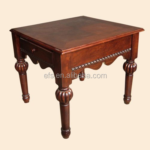 Environment friendly solid wood antique hand carved coffee table