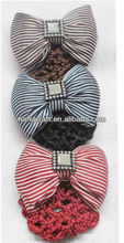 Rosallini Blue Flower Bow Hair Clip Snood Net Barrette Bun Cover for Lady Women