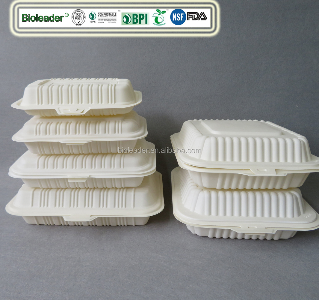 Eco-Friendly Compostable Cornstarch Plastic Takeaway Fast Food Clamshell Box