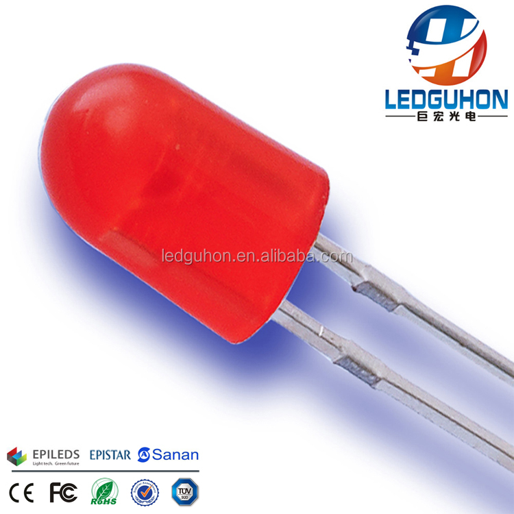 GH Emiting Yellow Light Diffused Oval Red Diode