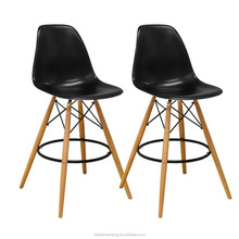 Modern Armless Paris Tower Barstool Chair with Natural Wood Legs for Bar or Kitchen