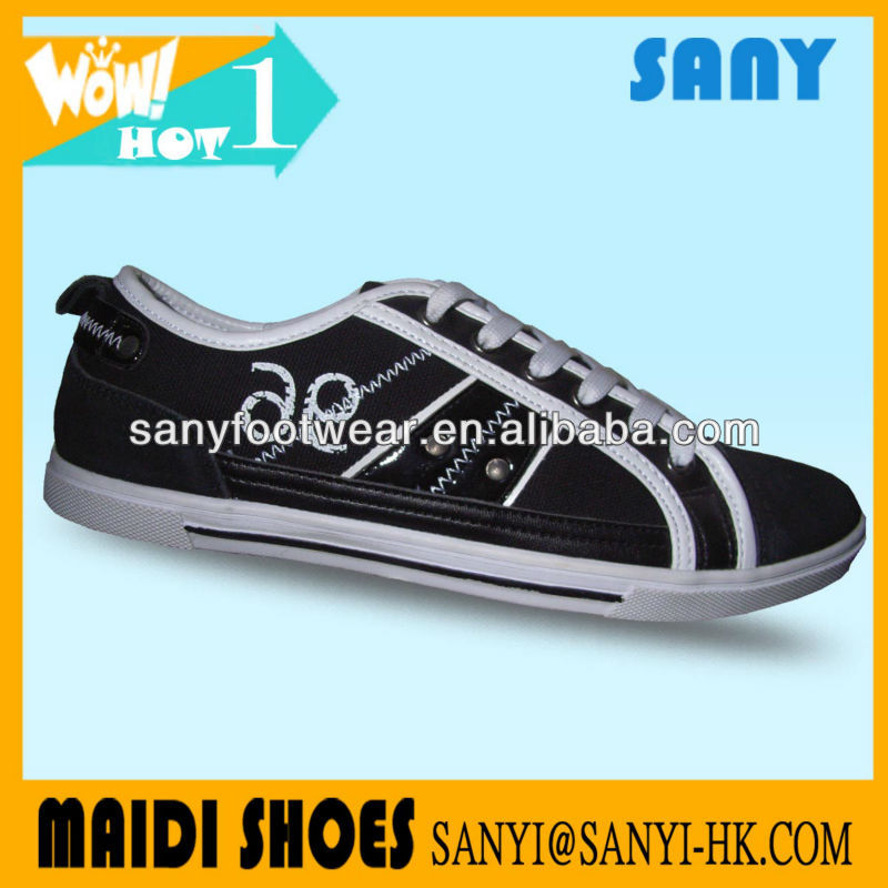 Hottest Men's Stylish Black Canvas Casual Vulcanized Shoes with Durable Rubber Outsole