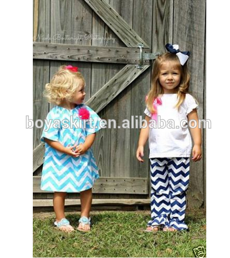 2015 Kids Summer Outfits Wholesale Baby Girls Clothing Sets ruffle pant set chevron clothing set with ruffles