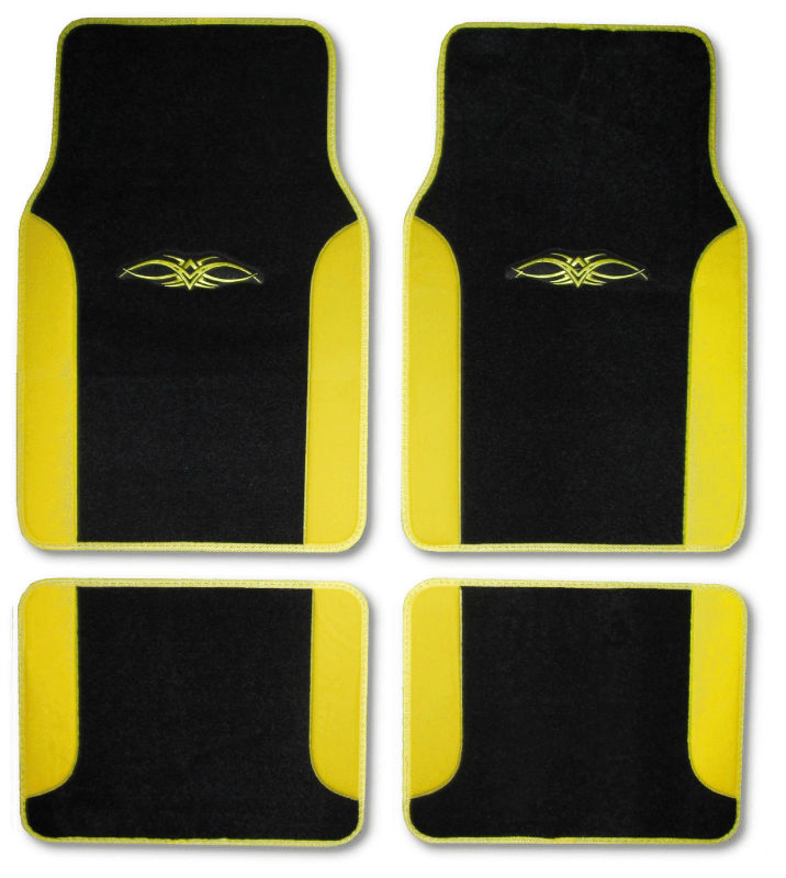 Racing Yellow Black Car Truck SUV Embroidered Universal Floor Mats