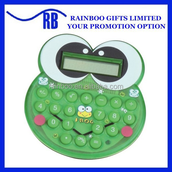Frog Shape logo printed promotional mini scientific calculator
