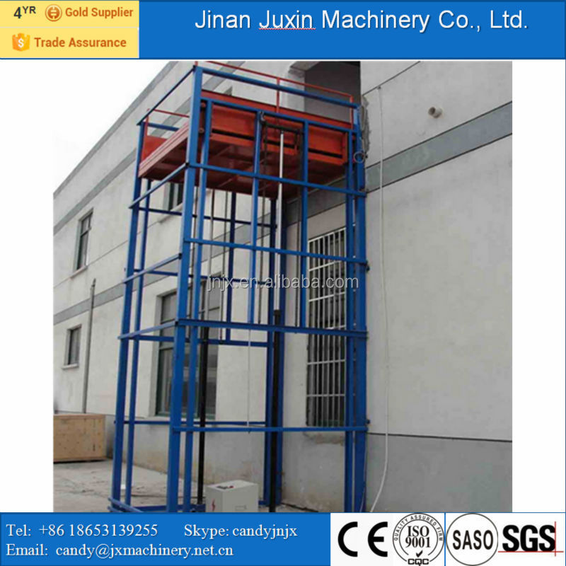 Safety hydraulic guide rail material lift vertical platform lift