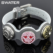 Best Selling Products In Europe Rhineston Leather Cuff Snap Button Emoji Bracelets