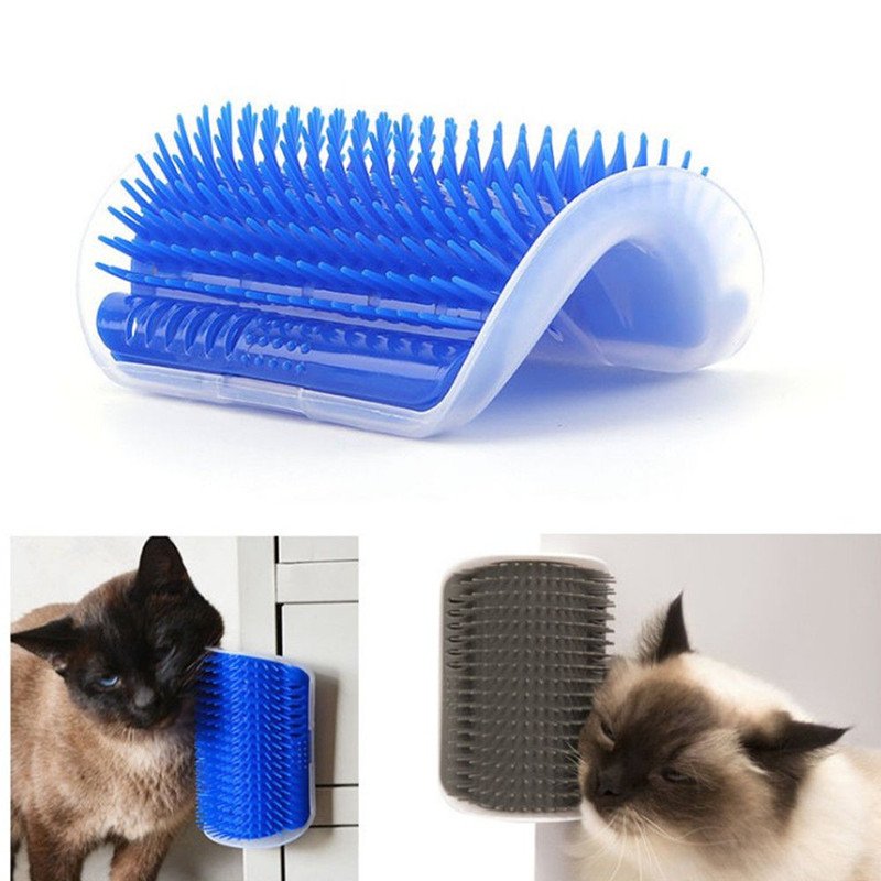 Cat Self Groomer Tool Wall Corner Massage Brush pet grooming brush With Catnip,Screws,Double-sided Tap