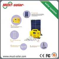 Small size 30w solar panel power system with rechargeable battery & LED lights&FM radio& MP3 player