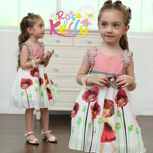 girls clothing , korean kids clothes wholesale,printed cotton baby girl dresses