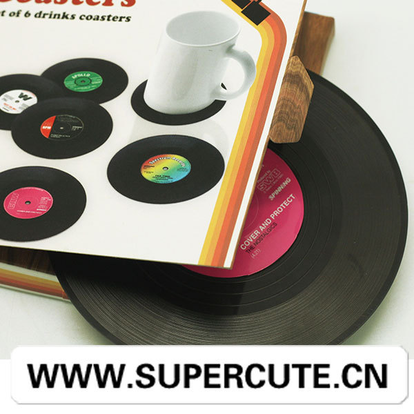 Special rubber drink coasters in vinyl recorder form