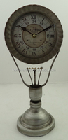 Light bulb shape metal table decoartive clock in dark silver color