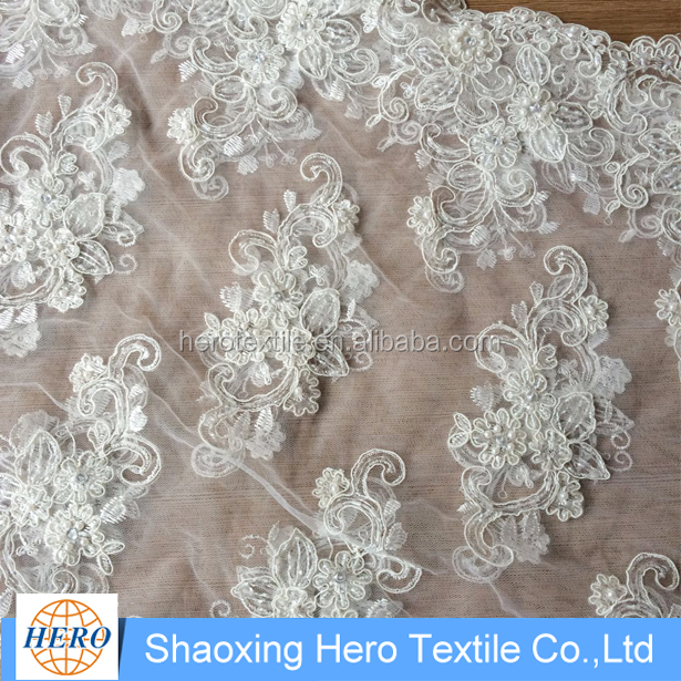 white wedding dress embroidery sequin lace/ voile lace beads