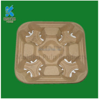 custom eco-friendly paper cup holder tray,Disposable brown color coffee cup tray