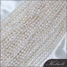 Aliexpress jewelry making 4.5-5 mm rice natural cultured pearls strands wholesale