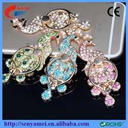 Ring Holder Smart Ring Stand Metal Rhinestone Peacock