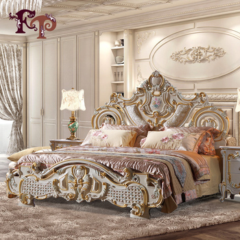 2018 The most popular Europe style rubber furniture, luxury classic upholstered solid wood carving genuine leather bed
