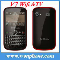 New arrival Qwerty Keyboard WIFI TV Mobile Phone V7