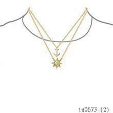2015 New Arrivals Yiwu Costume Jewleries For Women Adjustable Modern Gold Plated Ship Wheel Nautical Anchor Layered Necklace
