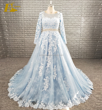 Elegant A-line Appliques Lace Blue Tulle Wedding Dress With Long Sleeves