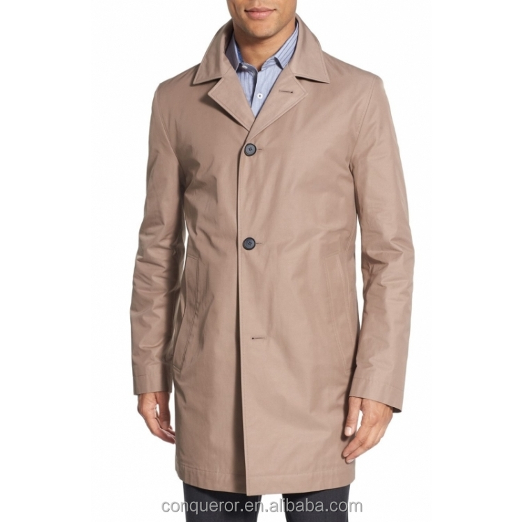 made to measure 51% cotton 49% polyester rain coat for men