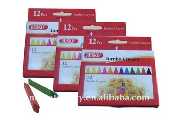 12 pcs triangular shape colour crayons in handable paper box