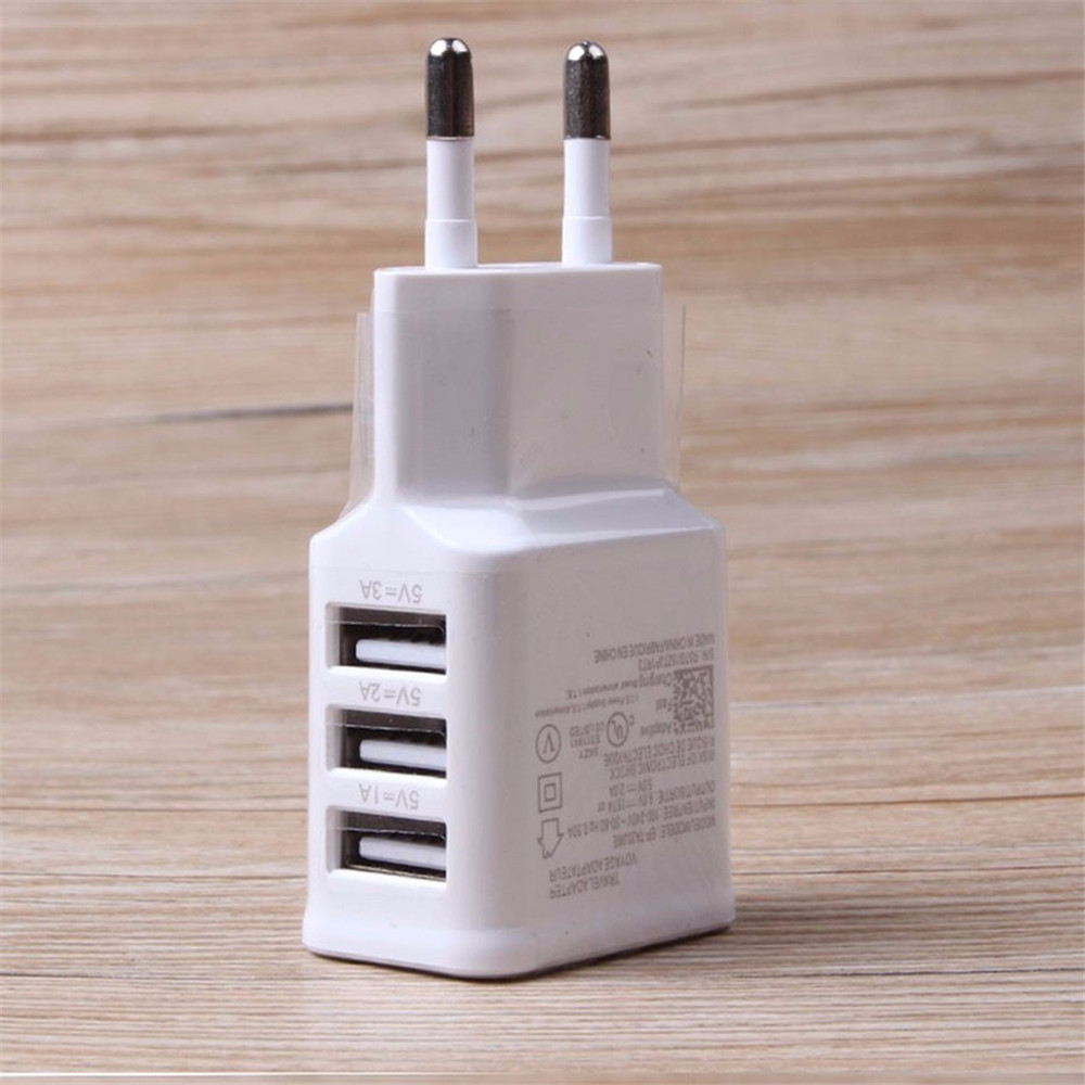 Factory Bulk Sale White USA Charger 3 USB Wall Plug Mobile Phone, Wall Plug With USB