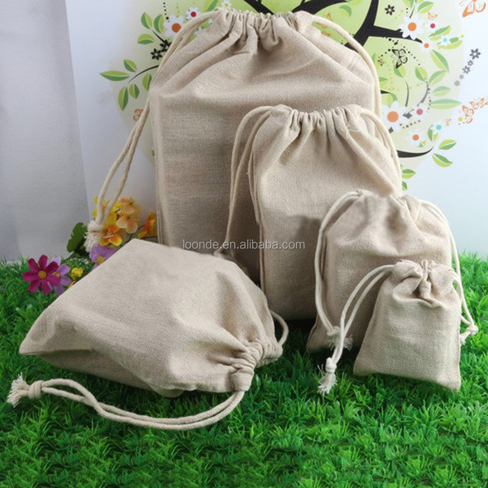 Organic linen cloth bags with drawstring for crafts and toys