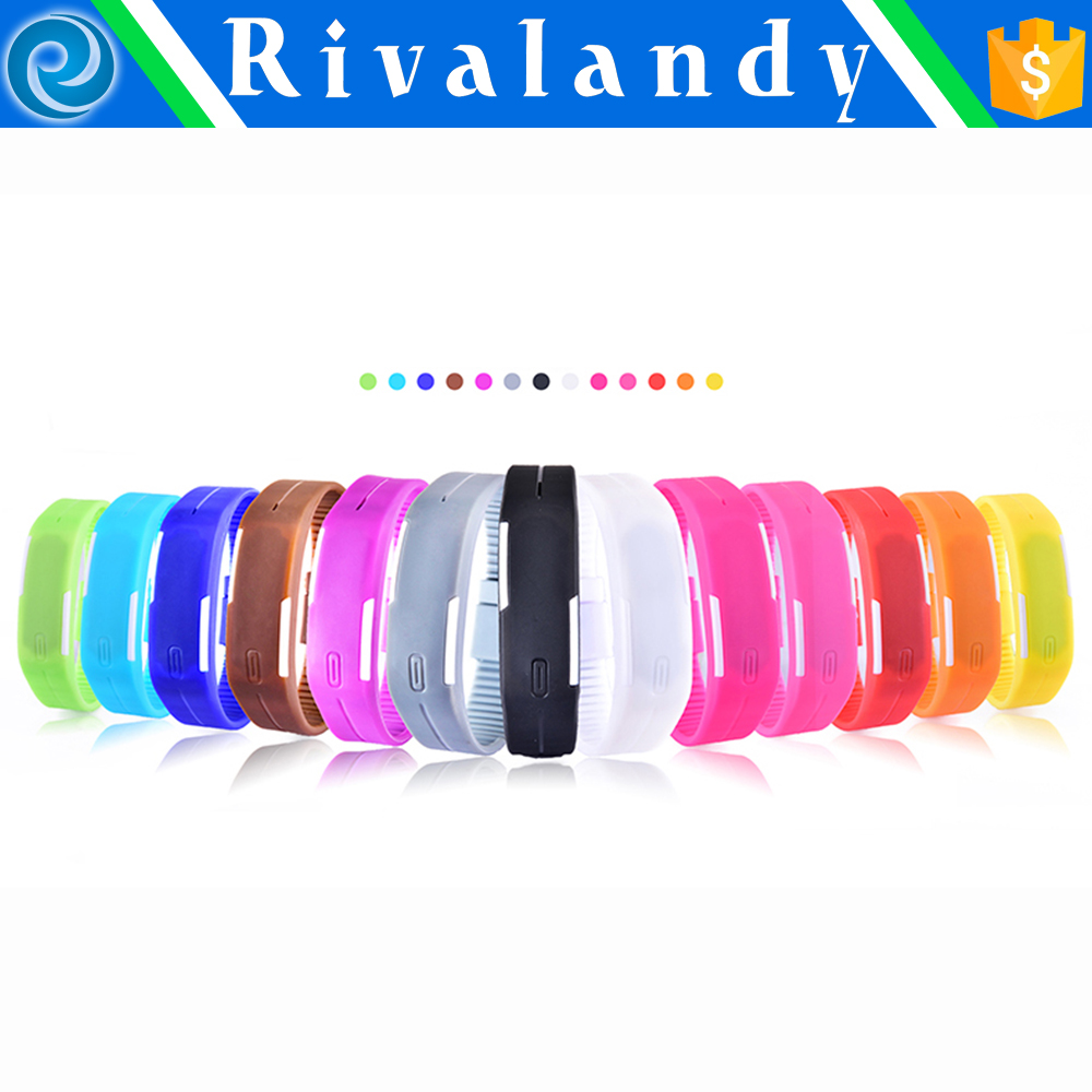 Unisex Touch Design Digital LED Silicone Sports Wrist Watch For Women Men led bracelet watch new