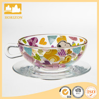 Home use mini personalized tea cups and saucers, flower printing bulk tea cups and saucers cheap wholesale