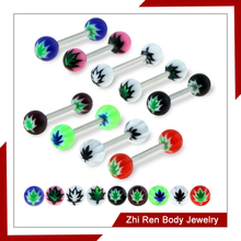 Pot Leaf Acrylic Ball Tongue Barbell Piercings