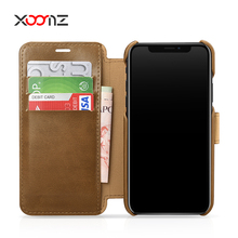 XOOMZ Business Stytle Leather Wallet Flip Mobile Phone Case for iPhone X