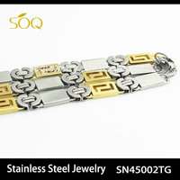 SN45002TG 2015 Unique Jewelry 2 Tone Brazilian Stainless Steel Chain Necklace
