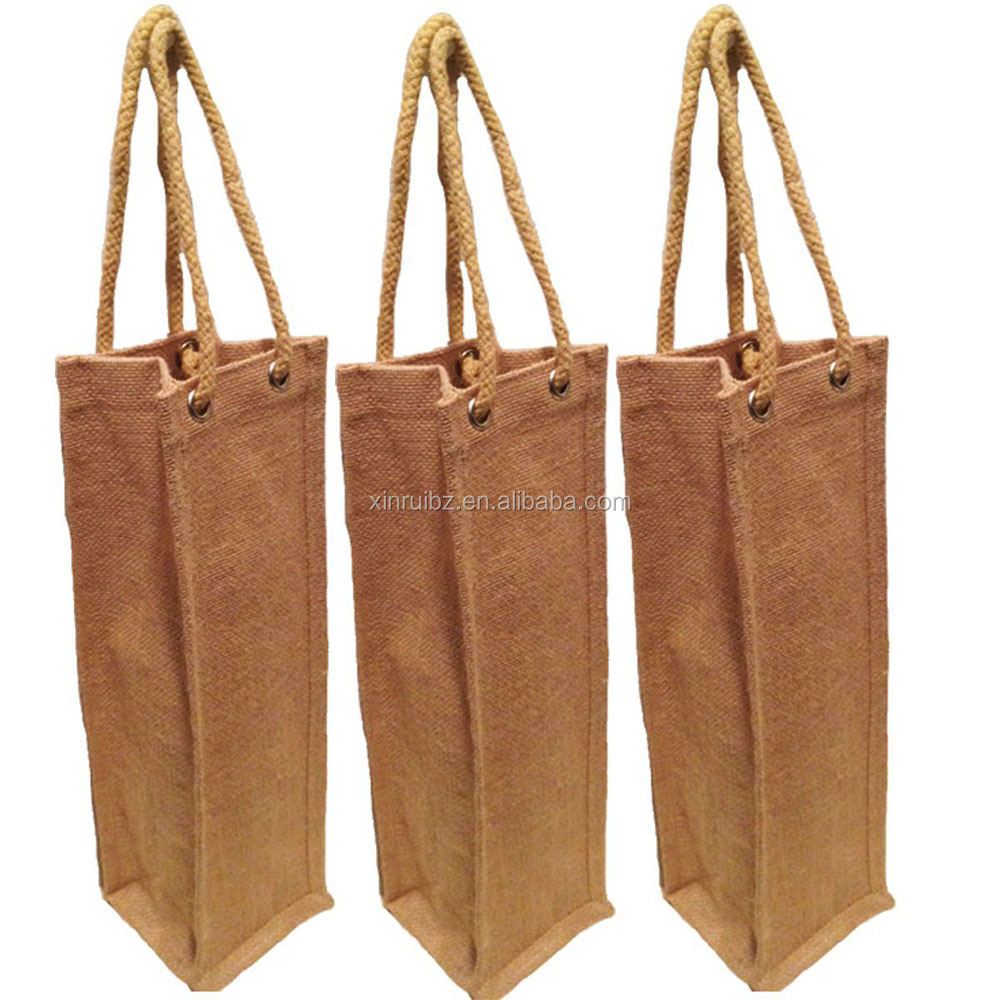 Natural jute burlap one bottle wine tote with long rope handles customized