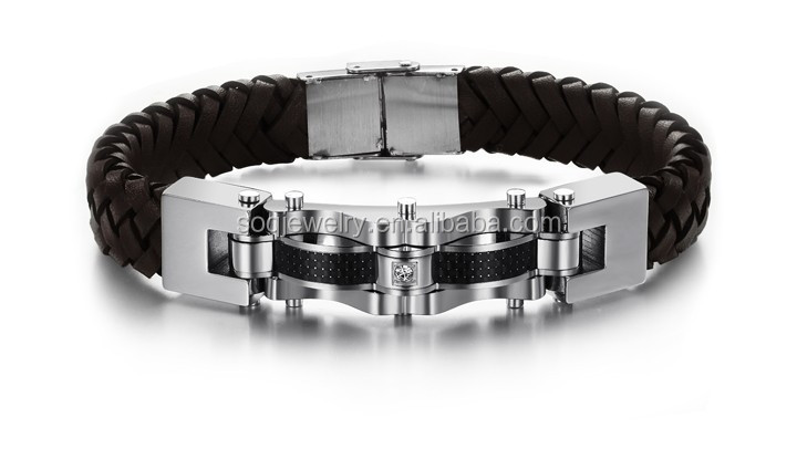 SSG990070 New Arrival Men's Stainless Steel Byzantine Link Chain Fashion Leather Bracelet Jewelry