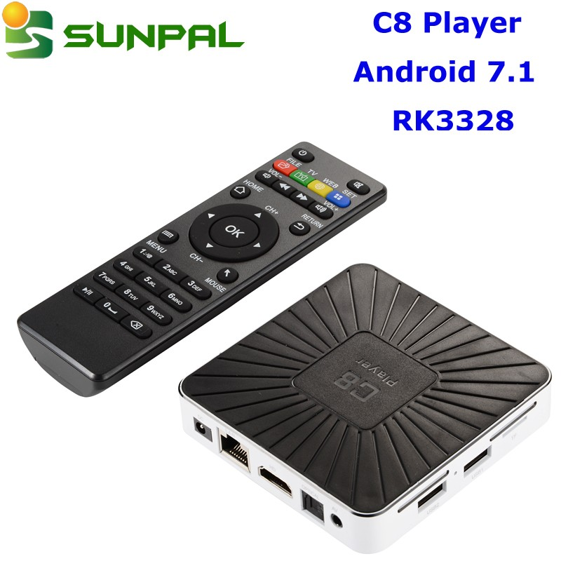 internet cable tv box android 7.0 7.1c8 player 1gb ram 8gb rom 4k full hd video rk3328 iptv box sunpal most selling unlocked stb