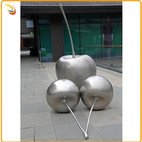 Modern Arts And Crafts Polished Stainless Steel Apple Sculpture For Sale