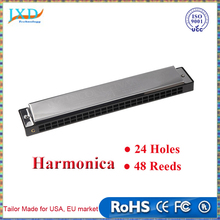 Swan Tremolo Harmonica Mouth Organ 24 Double Holes with 48 Reeds Key of C Gaita Free Reed Wind Instrument with Case Silver