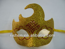 2013 hot sale gold glitter plastic mask halloween christmas mask