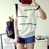 Wholesale cheap women t shirt printing OEM multi color guipure lace fabric stripes chiffon t shirt