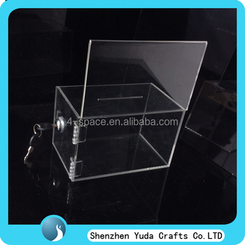 Small Size and beautiful design Acrylic Donation BOX table stand with lock and logo