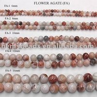 "wholesale flower agate loose strand 16"" semi precious gemstone round beads"